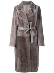 Yves Salomon Collarless Lambskin Coat Nude And Neutrals