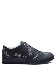 Lanvin Arrow Embroidered Leather Low Top Trainers Grey Multi