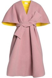 Delpozo Cape Effect Wool And Mohair Blend Coat Antique Rose