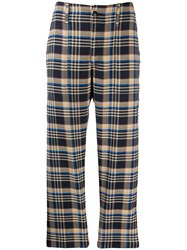 Closed Plaid Tailored Trousers Blue