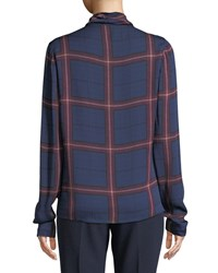 Camilla And Marc Alaine Cowl Neck Top In Check Navy