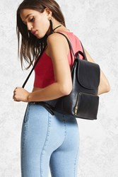 Forever 21 Faux Leather Flap Top Backpack Black
