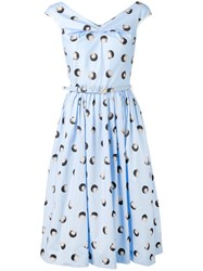 Blumarine Polka Dot Printed Sleeveless Dress Women Cotton Spandex Elastane 40 Blue