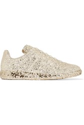Maison Martin Margiela Glittered Leather Sneakers Gold