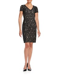 Nue By Shani V Neck Lace Dress Black Nude