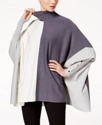 Alfani Turtleneck Poncho Sweater Created For Macy's Colorblock Stadium Grey
