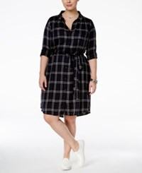 Lucky Brand Trendy Plus Size Plaid Shirtdress Black Multi