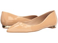 Massimo Matteo Pointy Toe Flat 17 Nude Patent Women's Flat Shoes Beige