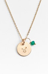 Women's Nashelle 14K Gold Fill And Semiprecious Birthstone Zodiac Mini Disc Necklace Taurus