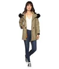 Converse Shield Hooded Parka Jute Olive Green Women's Coat