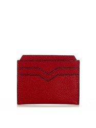Valextra Grained Leather Cardholder Red