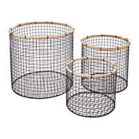 Murmur Tall Round Wire Storage Baskets Set Of 3 Charcoal