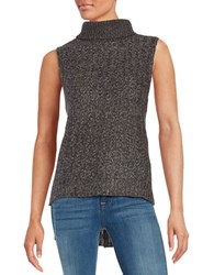 Design Lab Lord And Taylor Hi Lo Sleeveless Turtleneck Sweater Grey Twist