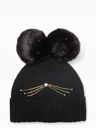 Kate Spade Cat Beanie With Faux Fur Pom