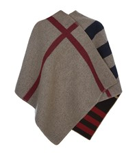 Burberry Shoes And Accessories House Check Wool Cashmere Cape Female Brown