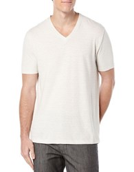 Perry Ellis Striped V Neck Tee Stone