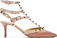 Valentino Taupe And Puce Leather Rockstud T Strap Heels