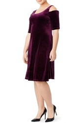 Plus Size Women's Mynt 1792 Cold Shoulder Velvet A Line Dress Plum Purple
