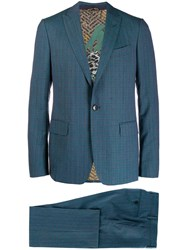 Etro Mottled Check Two Piece Suit Green