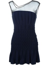 Jay Ahr Sheer Panel Dress Blue