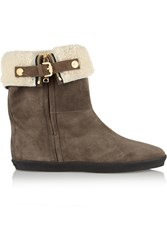 Burberry Shearling Lined Suede Ankle Boots Gray