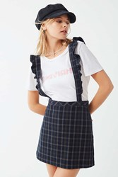 Urban Outfitters Uo Time After Time Plaid Suspender Skirt Blue Multi