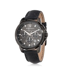 Maserati Successo Black Stainless Steel Case And Leather Strap Men's Chrono Watch