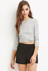 Forever 21 Marled Knit Crop Top Grey Cream