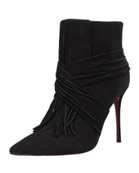Carrano Scarlet Leather Fringe Bootie Black