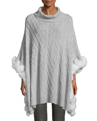 Neiman Marcus Luxury Cashmere Cable Knit Poncho With Fur Trim Pearl Grey