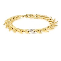 Cathy Waterman White Diamond And Yellow Gold Wheat Link Bracelet
