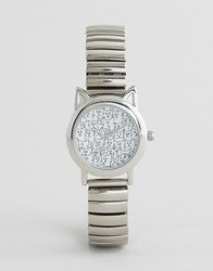 Asos Novelty Cat Dial Expander Watch Silver