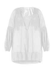 Lila Eugenie Cotton Blend Voile Cover Up White