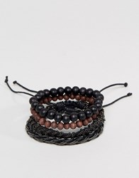 Aldo Beaded And Chain Bracelets In 4 Pack Black