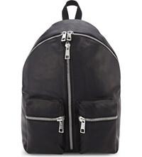 Replay Zipped Leather Backpack Black