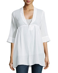 Fade To Blue Voile Peasant Tunic White