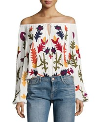Chelsea And Theodore Embroidered Off The Shoulder Top Ivory