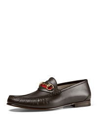 Gucci Leather Horsebit Loafer Brown