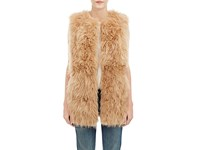 Barneys New York Women's Lamb Fur Long Vest Brown