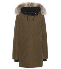 Canada Goose Victoria Down Jacket With Fur Trimmed Hood Green