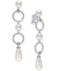 Danori Silver Tone Cubic Zirconia Link And Imitation Pearl Clip On Drop Earrings Created For Macy's Rhodium