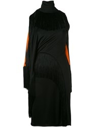 Givenchy Fringed Trim Fitted Dress Women Silk Acetate Viscose 38 Black
