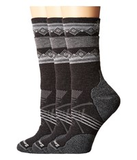Smartwool Phd Outdoor Medium Pattern Crew 3 Pair Pack Charcoal 1 Women's Crew Cut Socks Shoes Gray