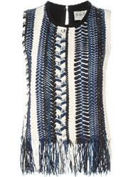 Sea Fringed Hem Striped Knitted Top Blue