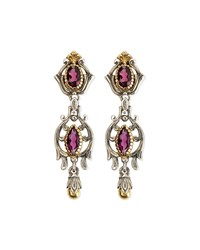 Silver And 18K Gold Rhodolite Dangle Earrings Konstantino Silver Gold