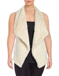 Calvin Klein Plus Open Front Faux Fur Vest Soft White