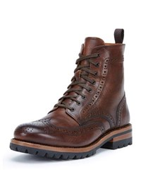 Frye George Lugged Brogue Lace Up Boot Cognac