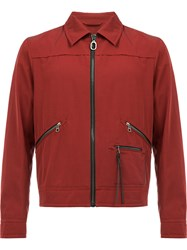 Lanvin Zipped Bomber Jacket Red