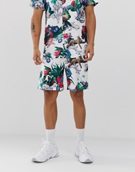 Criminal Damage Co Ord Shorts In White With Animal Print