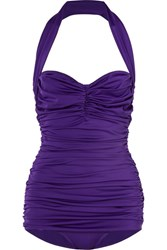 Norma Kamali Bill Mio Ruched Halterneck Swimsuit Dark Purple